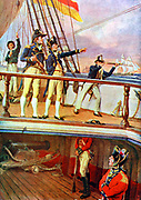 Battle of Trafalgar 21 October 1805 during Napoleon Wars. British fleet defeated Franco-Spanish fleet. Artist's impression of Nelson on the deck of  'HMS Victory'.