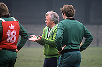 N Ireland soccer manager, Billy Bingham, during a training session at St Albans before the match against England at Wembley. 19820223014BB3<br /> <br /> Copyright Image from Victor Patterson, 54 Dorchester Park, Belfast, UK, BT9 6RJ<br /> <br /> t: +44 28 90661296<br /> m: +44 7802 353836<br /> vm: +44 20 88167153<br /> e1: victorpatterson@me.com<br /> e2: victorpatterson@gmail.com<br /> <br /> For my Terms and Conditions of Use go to www.victorpatterson.com