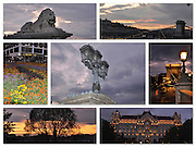 Eastern Europe, Hungary, Budapest, 7 image night photography collage