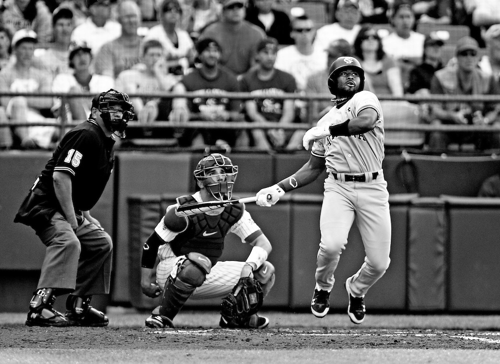 USC's Jackie Bradley Jr. follows through on his fourth inning home run during Sunday's game between South Carolina and Oklahoma at the 2010 College World Series inside Rosenblatt Stadium. Omaha, NE 6/20/10