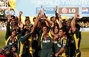 Pakistan celebrate winning the ICC World Twenty20 Cup Final against Sri Lanka at Lord's. Photo © Graham Morris (Tel: +44(0)20 8969 4192 Email: sales@cricketpix.com)