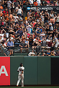 San Francisco Giants left fielder Mac Williamson (51) watches a ball leave left field during a MLB game against the St. Louis Cardinals at AT&T Park in San Francisco, California, on September 3, 2017. (Stan Olszewski/Special to S.F. Examiner)