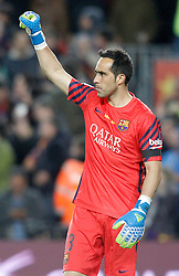 02.04.2016, Camp Nou, Barcelona, ESP, Primera Division, FC Barcelona vs Real Madrid, 31. Runde, im Bild FC Barcelona's Claudio Bravo celebrates goal // during the Spanish Primera Division 31th round match between Athletic Club and Real Madrid at the Camp Nou in Barcelona, Spain on 2016/04/02. EXPA Pictures © 2016, PhotoCredit: EXPA/ Alterphotos/ Acero<br /> <br /> *****ATTENTION - OUT of ESP, SUI*****