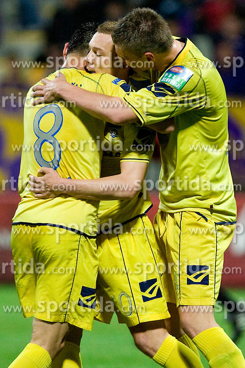 Blaz Brezovacki of Domzale, Damir Pekic of Domzale and Jovan Vidovic of Domzale celebrate after 2nd goal at Final football match  of Hervis Cup between NK Maribor and NK Domzale, on May 8, 2010, played in Ljudski vrt, Maribor, Slovenia. Maribor defeated Domzale after overtime 3-2 and became Slovenian Cup Champion. (Photo by Vid Ponikvar / Sportida)