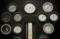 Dials and guages for monitoring a blast furnace at what is  now called Sloss Furnances National Historic Landmark in Birmingham, Alabama.