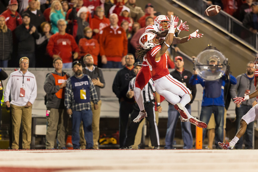Nebraska Cornhuskers wide receiver Stanley Morgan Jr. #8 battles for pass with Wisconsin Badgers safety D'Cota Dixon #14 on the final play of the game during Nebraska's game at Wisconsin at Camp Randall Stadium in Madison, Wis. on Oct. 29, 2016. Photo by Aaron Babcock, Hail Varsity