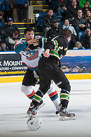 KELOWNA, CANADA - JANUARY 26: Tyrell Goulbourne #12 of the Kelowna Rockets drops the gloves with Harrison Ruopp #2 of the Prince Albert Raiders at the Kelowna Rockets on January 26, 2013 at Prospera Place in Kelowna, British Columbia, Canada (Photo by Marissa Baecker/Shoot the Breeze) *** Local Caption ***
