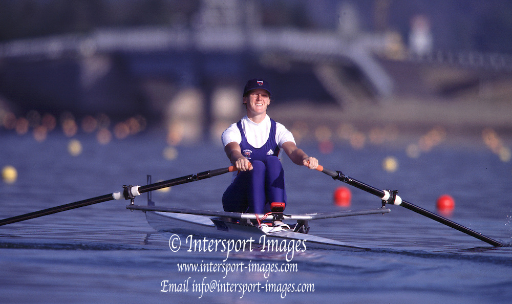 Sydney, AUSTRALIA. GBR W1X Alison Mowbray - early morning training  ,   at  the Olympic Regatta, Penrith Lakes. NSW. Credit [Peter Spurrier/Intersport Images] .... 2000 Olympic Regatta Sydney International Regatta Centre (SIRC) 2000 Olympic Rowing Regatta00085138.tif