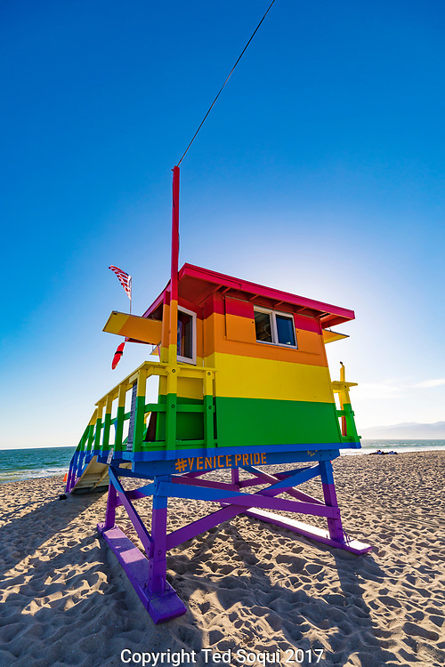 Venice Pride lifeguard tower on Venice Beach.