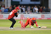 Lancashires Arron Lilley run out during the Vitality T20 Blast North Group match between Lancashire Lightning and Durham Jets at the Emirates, Old Trafford, Manchester, United Kingdom on 7 August 2018.