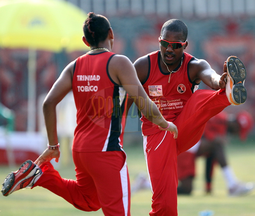 Players works out during the Trinidad and Tobago practice session held at the M. A. Chidambaram Stadium in Chennai , Tamil Nadu, India on the 27th September 2011..Photo by Prashant Bhoot/BCCI/SPORTZPICS