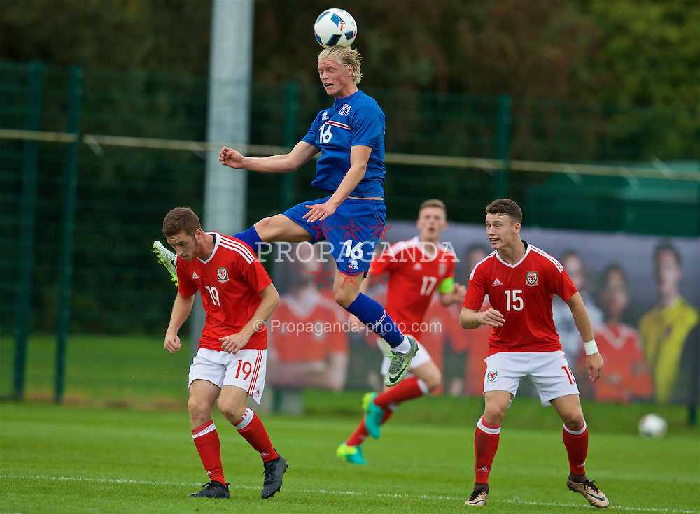 NEWPORT, WALES - Tuesday, September 6, 2016: Iceland's Dagur Hilmarsson during the International Friendly match against Wales at Dragon Park. (Pic by David Rawcliffe/Propaganda)