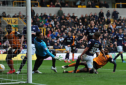 Wolves' Ethan Ebanks-Landell scores a goal - Photo mandatory by-line: Paul Knight/JMP - Mobile: 07966 386802 - 02/05/2015 - SPORT - Football - Wolverhampton - Molineux Stadium - Wolverhampton Wanderers v Millwall - Sky Bet Championship