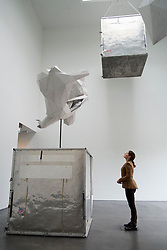Large sculptures titled The Alienation of Objects by Toby Ziegler at Kiasma contemporary art museum in Helsinki Finland