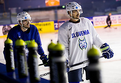 Jurij Repe of Slovenia and Klemen Pretnar of Slovenia during practice session of Team Slovenia at the 2017 IIHF Men's World Championship, on May 11, 2017 in AccorHotels Arena in Paris, France. Photo by Vid Ponikvar / Sportida