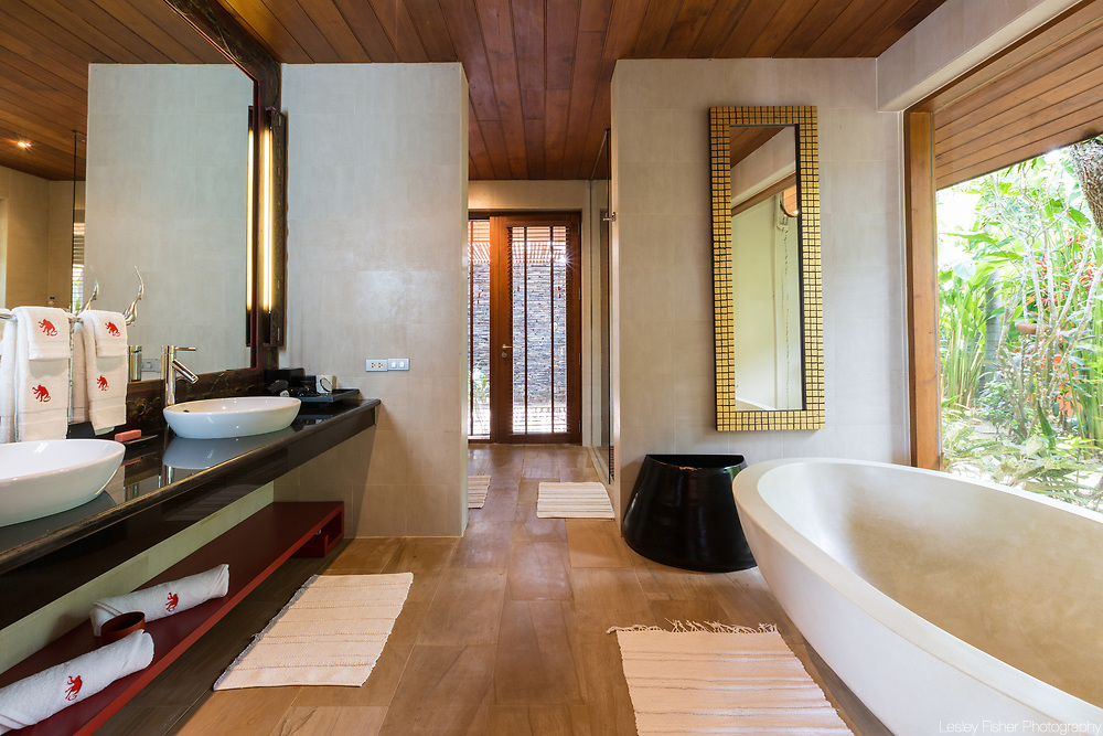 Bathroom at Wanora, a private, luxury 6 bedroom beach from villa located in Laem Sor, Koh Samui, Thailand
