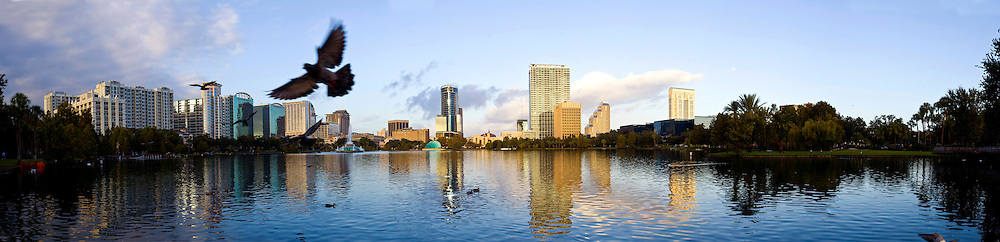 Oct 14, 2008; Orlando, Florida:  General view of the sky line of Orlando and Lake Eola at sunrise...Shot for Orlando Magazine..© 2008 Scott A. Miller