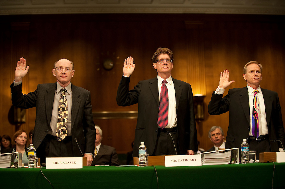 "Apr 13,2010 - Washington, District of Columbia USA -.The Senate Investigations Subcommittee hearing on ""Wall Street and the Financial Crisis: The Role of High Risk Home Loans.""..Pictured: (left to right)James Vanasek, former risk officer (2004-2005); .Ronald Cathcart, former risk officer (2006-2008); .Randy Melby, former general auditor; .of Washington Mutual Bank are sworn in by Senator Carl Levin.(Credit Image: © Pete Marovich/ZUMA Press)"