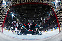 KELOWNA, CANADA - OCTOBER 20: James Porter #1 of the Kelowna Rockets defends the net and makes a save against the Portland Winterhawks on October 20, 2017 at Prospera Place in Kelowna, British Columbia, Canada.  (Photo by Marissa Baecker/Shoot the Breeze)  *** Local Caption ***