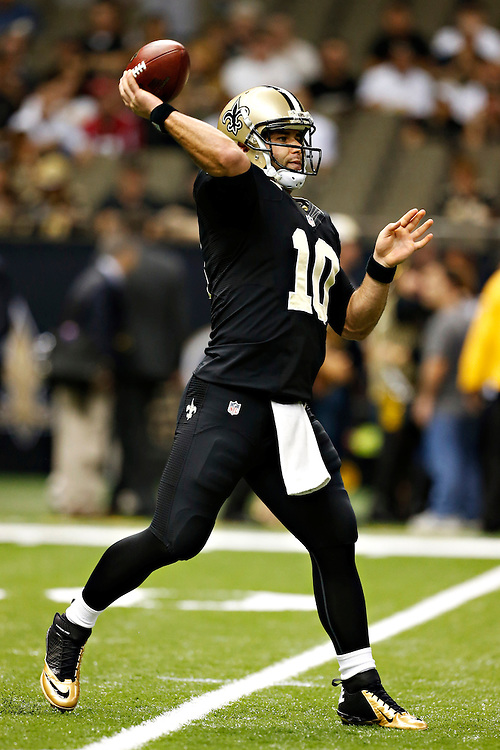 NEW ORLEANS, LA - NOVEMBER 11:  Chase Daniels #10 of the New Orleans Saints warms up before a game against the Atlanta Falcons at Mercedes-Benz Superdome on November 11, 2012 in New Orleans, Louisiana.  The Saints defeated the Falcons 31-27.  (Photo by Wesley Hitt/Getty Images) *** Local Caption *** Chase Daniels
