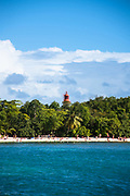 Postcard photo of the lighthouse at Gosier on a sunny day in Guadeloupe of the French Caribbean