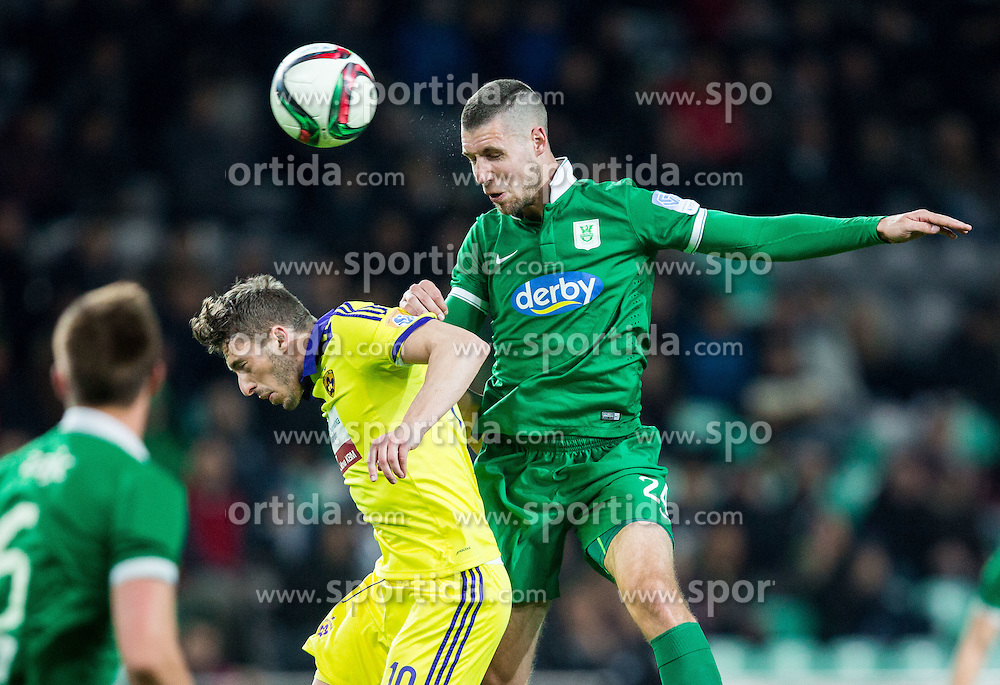 Agim Ibraimi #10 of Maribor vs Kenan Bajric #24 of Olimpija during football match between NK Olimpija Ljubljana and NK Maribor in Round #26 of Prva liga Telekom Slovenije 2014/15, on April 8, 2015 in SRC Stozice, Ljubljana, Slovenia. Photo by Vid Ponikvar / Sportida