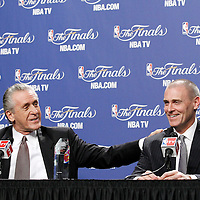 19 June 2012: Team President of the Miami Heat Pat Riley is seen next to Rick Carlisle, head coach of the Dallas Mavericks during a press conference prior to the Miami Heat 104-98 victory over the Oklahoma City Thunder, in Game 4 of the 2012 NBA Finals, at the AmericanAirlinesArena, Miami, Florida, USA.