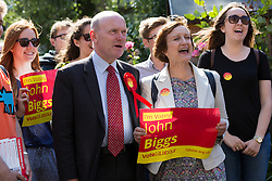 © Licensed to London News Pictures. 11/06/2015. London, UK. Labour Tower Hamlets Mayor candidate, JOHN BIGGS with TESSA JOWELL canvassing in Tower Hamlets, east London. Tower Hamlets residents go to the polls today to vote for a new Mayor of Tower Hamlets after Lutfur Rahman was removed from office for fraud and corrupt practices by an election court earlier this year. Photo credit : Vickie Flores/LNP