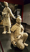 """This kneeling crossbow archer from the Qin dynasty (221-206 BC) is one of 160 excavated in 1977. """"Terracotta Warriors of the First Emperor"""" exhibit (18 May 2017) at Pacific Science Center, Seattle Center, Washington, USA."""