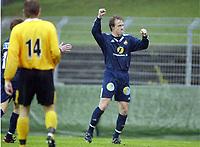 Fotball, 13. mai 2003, NM fotball herrer, Strømsgodset-Bærum, Kim Larsen, Strømsgodset, jubler etter scoring