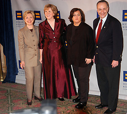 New York, NY, USA, February 7, 2004. Hillary Clinton and Rosie O'Donnell attend the Third annual Gala Dinner and Silent Auction, benefits to the Human Rights Campaign, which is the largest National Gay, Lesbian, Bisexual and Transgender political organization. (pictured: Hillary Clinton and Rosie O'Donnell) Photo by Antoine Cau/Abaca.
