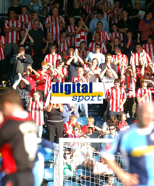 Photo: Alan Crowhurst.<br />Wycombe Wanderers v Lincoln City. Coca Cola League 2. 23/09/2006. The Lincoln fans delight at a victory.