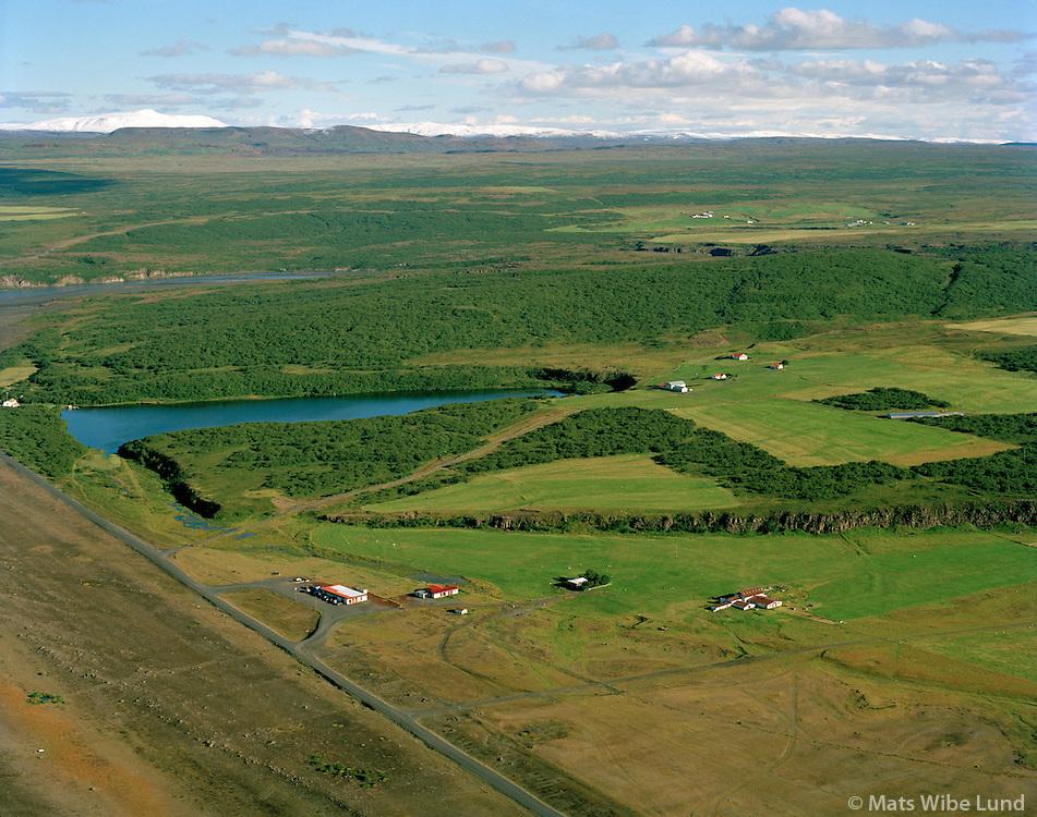 Ásbyrgi, Ás og Ástjörn séð til austurs, Kelduneshreppur / Asbyrgi, As, Astjorn (lake) viewing east, Kelduneshreppur.