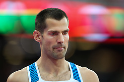 London, August 13 2017 . Robert Grabarz, Great Britain, in the men's high jump final on day ten of the IAAF London 2017 world Championships at the London Stadium. © Paul Davey.