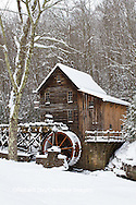 67395-04110 Glade Creek Grist Mill in winter, Babcock State Park, WV