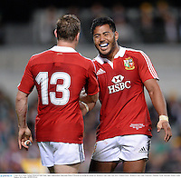 5 June 2013; Manu Tuilagi, British & Irish Lions, right, congratulates team-mate Brian O'Driscoll on scoring his second try. British & Irish Lions Tour 2013, Western Force v British & Irish Lions, Patterson's Stadium, Perth, Australia. Picture credit: Stephen McCarthy / SPORTSFILE