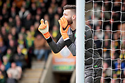 Norwich City goalkeeper Angus Gunn (1) shouts orders during the EFL Sky Bet Championship match between Norwich City and Ipswich Town at Carrow Road, Norwich, England on 18 February 2018. Picture by Nigel Cole.