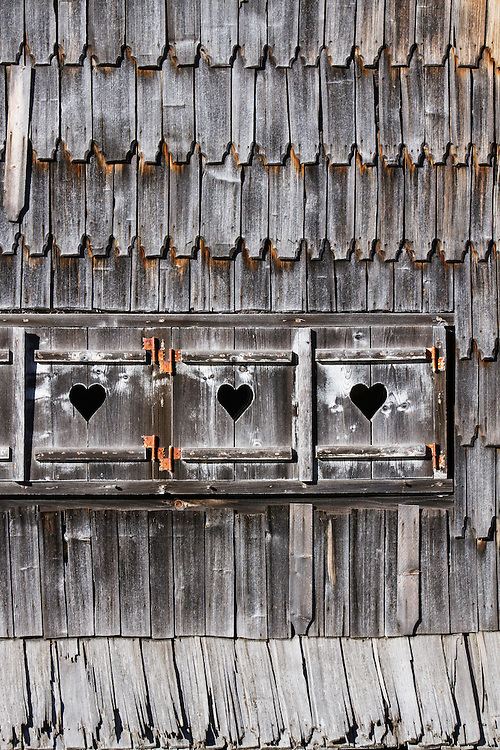 Traditional wooden shingles and cladding on the building of the old Meteorological Station at Cuntu. Southern Carpathians, Munții Ṭarcu, Caraș-Severin, Romania.