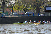 London, UK,  2014 Varsity, Annual Tideway Week. CUBC, Cambridge University Boat Club, Blue Boat, paddle past the Black Buoy, at the end of their training outing. Mike THORP (bow), Luke JUCKETT (2), Ivo DAWKINS (3), Steve DUDEK (4), Helge GRUETJEN (5), Matthew JACKSON (6). 09:32:19  Tuesday  01/04/2014  : [Mandatory Credit Intersport Images]