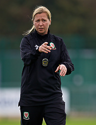 NEWPORT, WALES - Friday, October 5, 2018: Wales' manager Jayne Ludlow during a training session at Dragon Park. (Pic by David Rawcliffe/Propaganda)