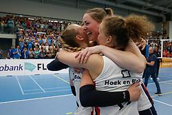 20190424 NED: Sliedrecht Sport - VC Sneek: Sliedrecht<br /> Sliedrecht Sport Nederlands Kampioen Volleybal Seizoen 2018 - 2019, Christie Wolt (1) of Sliedrecht Sport , Carlijn Ghijssen - Jans (10) of Sliedrecht Sport , Ana Rekar (11) of Sliedrecht Sport <br /> ©2019-FotoHoogendoorn.nl / Pim Waslander