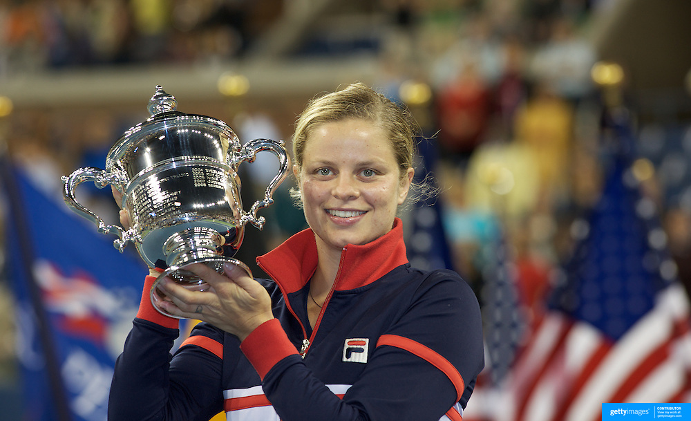 Kim Clijsters, Belgium, winning the Women's Singles Final  against Caroline Wozniacki, Denmark at  the US Open Tennis Tournament at Flushing Meadows, New York, USA, on Sunday, September 13, 2009. Photo Tim Clayton.