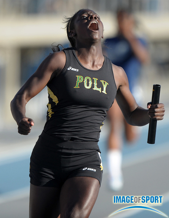 May 28, 2010; Norwalk, CA, USA; Akawkaw Ndipagbor reacts after anchoring  the Poly High girls' 4 x 100-meter relay to victory in 45.29 in the CIF Southern Section Masters Meet at Cerritos College.