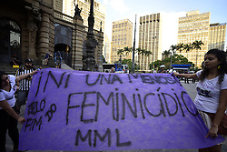 October 19, 2016 - Sao Paulo, Sao Paulo, Brazil - Women take part in a protest in Sao Paulo, Brazil - where protesters held a one-hour 'women's strike'- on October 19, 2016, to protest against violence against women and in solidarity for the brutal killing of a 16-year-old girl in Mar del Plata The killing, in which the high school student was allegedly raped and impaled on a spike by drug dealers, is just the latest incident of horrific gender violence in Argentina, to protest brutality against women. (Credit Image: © Cris Faga/NurPhoto via ZUMA Press)