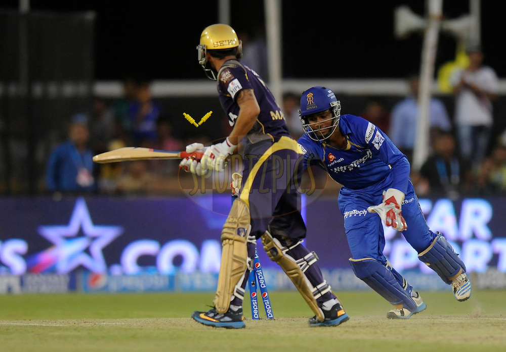 Sanju Samson of the Rajatshan Royals takes the bails off to get the wicket of Manish Pandey of the Kolkata Knight Riders during match 25 of the Pepsi Indian Premier League Season 2014 between the Rajasthan Royals and the Kolkata Knight Riders held at the Sardar Patel Stadium, Ahmedabad, India on the 5th May  2014<br /> <br /> Photo by Pal Pillai / IPL / SPORTZPICS      <br /> <br /> <br /> <br /> Image use subject to terms and conditions which can be found here:  http://sportzpics.photoshelter.com/gallery/Pepsi-IPL-Image-terms-and-conditions/G00004VW1IVJ.gB0/C0000TScjhBM6ikg