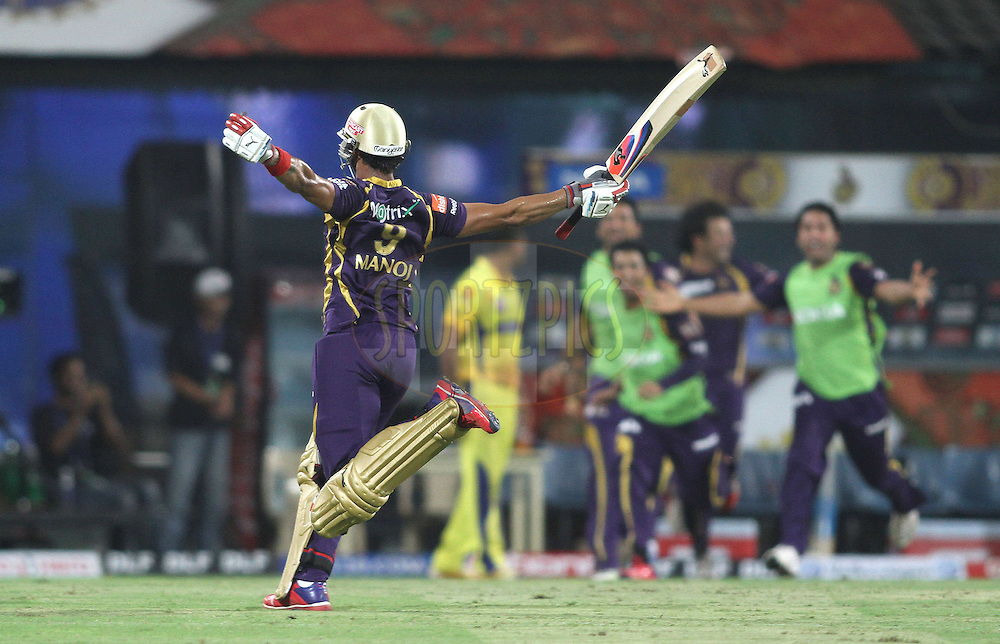 Manoj Tiwary of the Kolkata Knight Riders celebrates after hitting the winning runs to beat Chennai Super Kings and become DLF IPL Champions during the final of the Indian Premier League ( IPL ) 2012  between The Kolkata Knight Riders and the Chennai Superkings held at the M. A. Chidambaram Stadium, Chennai on the 27th May 2012..Photo by Shaun Roy/IPL/SPORTZPICS