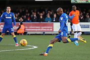 AFC Wimbledon midfielder Jimmy Abdou (8) with shot on goal during the EFL Sky Bet League 1 match between AFC Wimbledon and Southend United at the Cherry Red Records Stadium, Kingston, England on 1 January 2018. Photo by Matthew Redman.