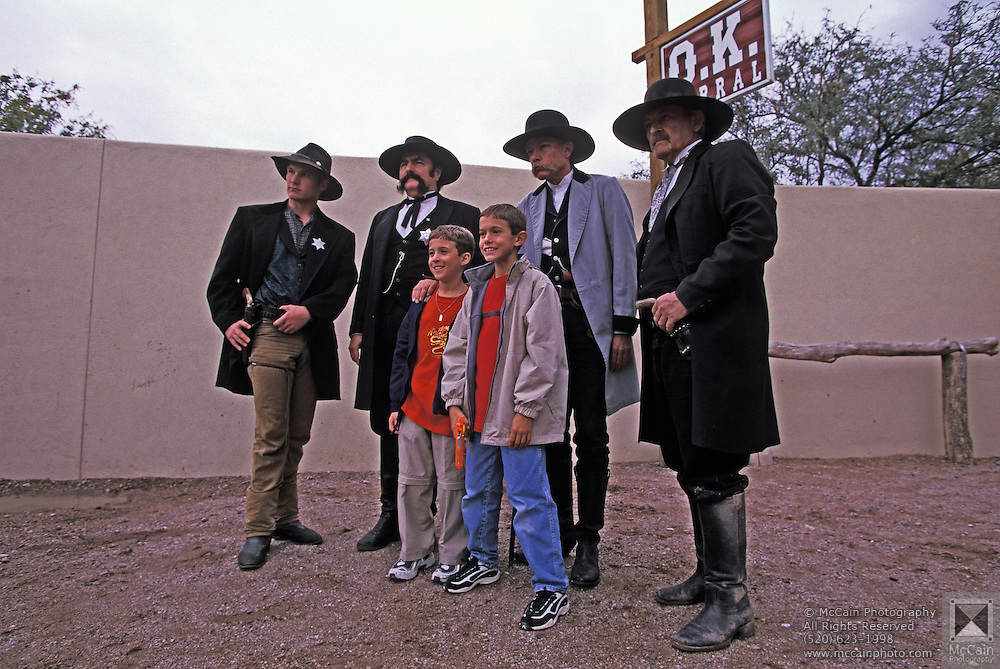Children pose with actors at OK Corral, Helldorado Days, Tombstone, Arizona. ©Edward McCain/McCain Creative, Inc. All Rights Reserved 520-623-1998