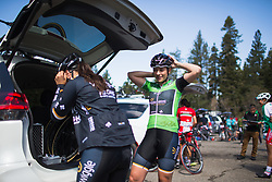 Annette Edmondson (AUS) prepares on Stage 2 of the Amgen Tour of California - a 108 km road race, starting and finishing in South Lake Tahoe on May 18, 2018, in California, United States. (Photo by Balint Hamvas/Velofocus.com)