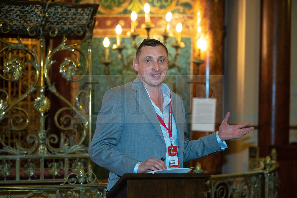 © Licensed to London News Pictures . 22/09/2019. Brighton, UK. Progress' NATHAN YEOWELL speaks at a fringe event by the Jewish Labour Movement at middle Street Brighton Synagogue, during the second day of the 2019 Labour Party Conference from the Brighton Centre . Photo credit: Joel Goodman/LNP